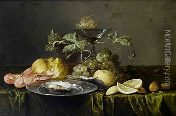 A Still Life Of Prawns, A Bread Roll, Anoyster On A Pewter Dish, A Glass Of Beer, A Wine Glass, Grapes,lemons And Walnuts On A Table Draped With A Green Cloth Oil Painting - Alexander Coosemans