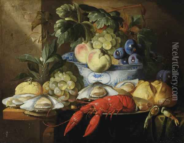A Lobster On A Plate, A Bread Roll, Oysters, Grapes, A Lemon And Aporcelain Bowl With Various Fruits Oil Painting - Alexander Coosemans