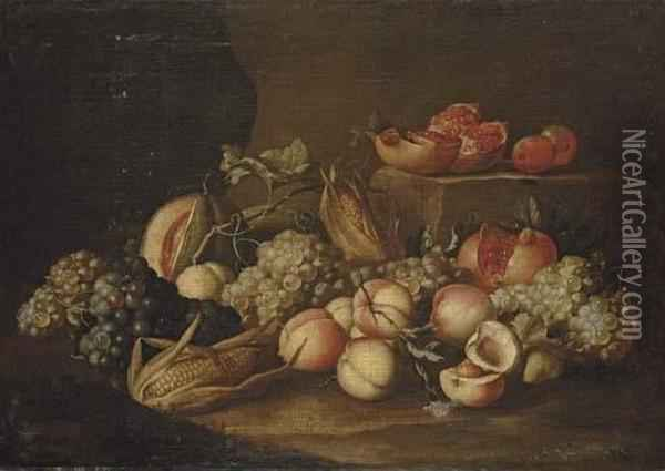 Peaches, Grapes, Corn On The Cob, Pomegranates And A Melon On A Stone Floor Oil Painting - Alexander Coosemans