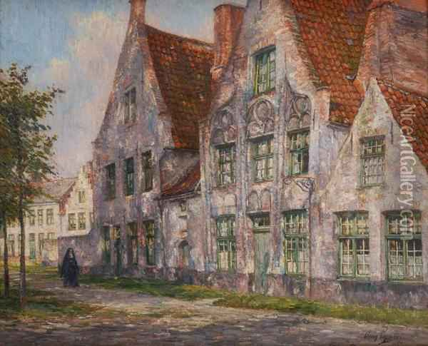 Rayons De Soleil A Bruges Oil Painting - Omer Coppens