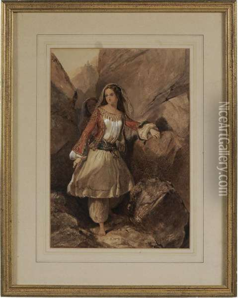 Greek Girl In Native Costume Oil Painting - Edward Henry Corbould