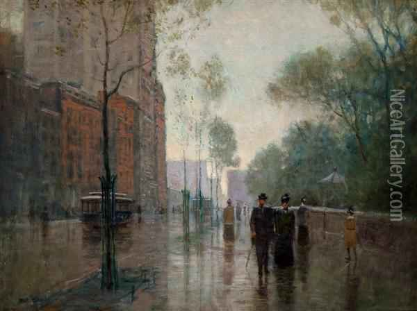 A Rainy Day In New York Oil Painting - Paul Cornoyer