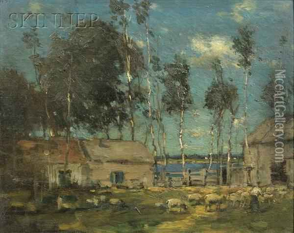 Landscape With Sheep By A River Oil Painting - Paul Cornoyer