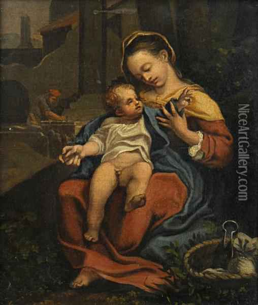 The Madonna And Child, With Saint Joseph In The Background Oil Painting - Correggio, (Antonio Allegri)