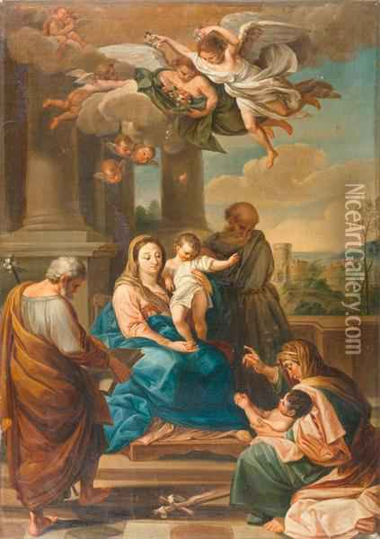 Holy Family Crowned With Flowers By Angels. Oil Painting - Domenico Corvi
