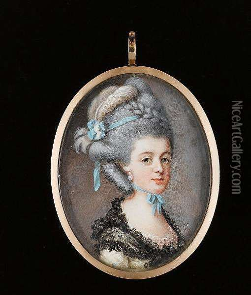A Lady, Wearing White Dress, Pink Lace Underslip And Black Lace Shawl Tied About Her Shoulders, Drop Pearl Earring, Pale Blue Ribbon Tied About Her Neck, A Further Blue Ribbon And White Plume In Her Upswept And Plaited Powdered Hair Oil Painting - Samuel Cotes