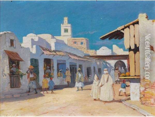 Vue D'une Rue A Tunis Oil Painting - Charles Cottet