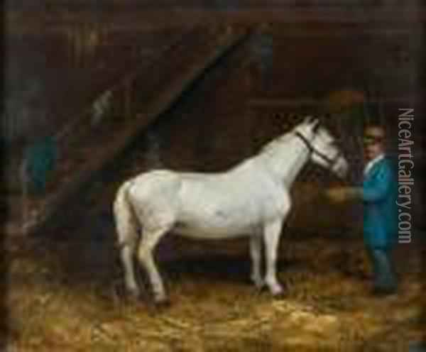 Lad A L'ecurie Oil Painting - Gustave Courbet