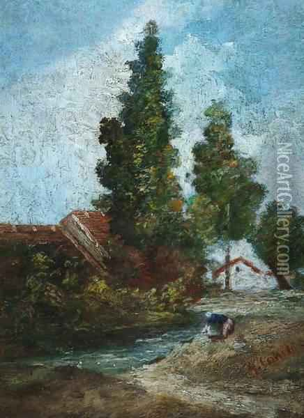 Paysage De Campagne Anime Oil Painting - Gustave Courbet