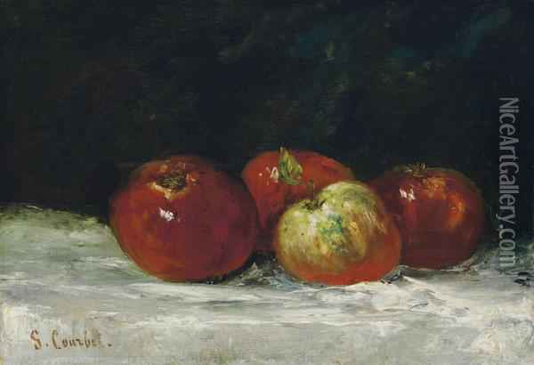 Pommes Rouges Oil Painting - Gustave Courbet