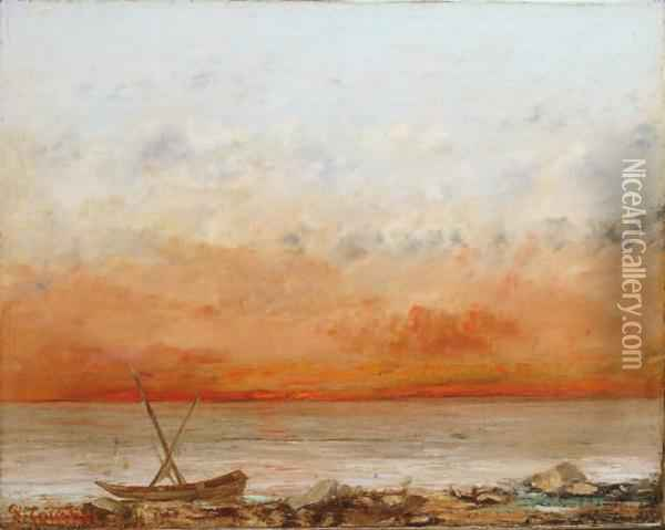 Soleil Couchant En Bord De Mer Oil Painting - Gustave Courbet