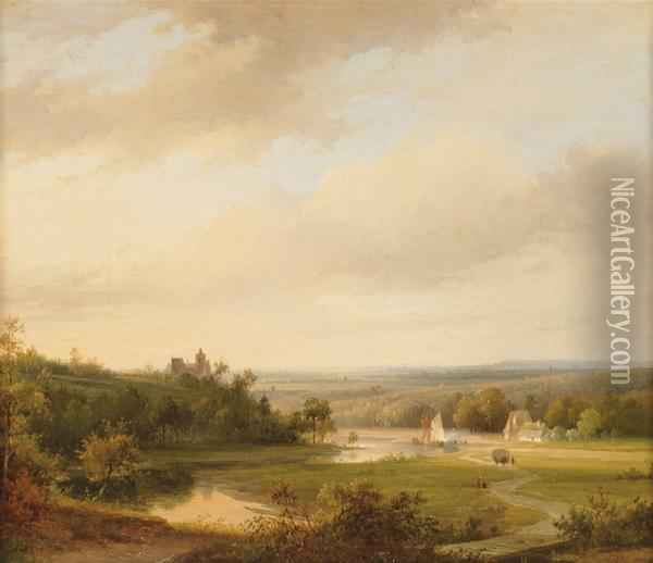 An Extensive River Landscape With Cattle On A Hill-top Oil Painting - Abraham Johannes Couwenberg, Jzn.