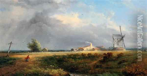 Windswept Landscape Oil Painting - David Cox