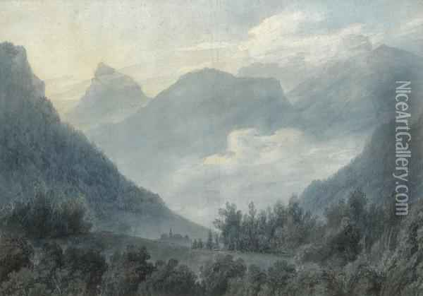View Of The Grand Chartreuse Oil Painting - John Robert Cozens