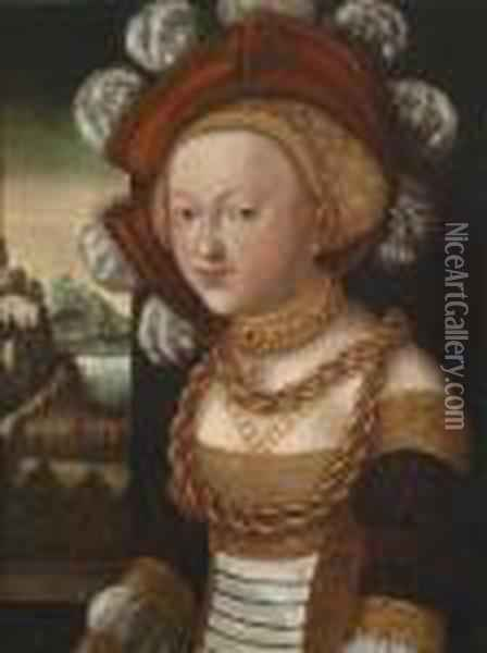 Young Lady Dressed In A Courtly Fashion Before A Landscape Oil Painting - Lucas The Elder Cranach