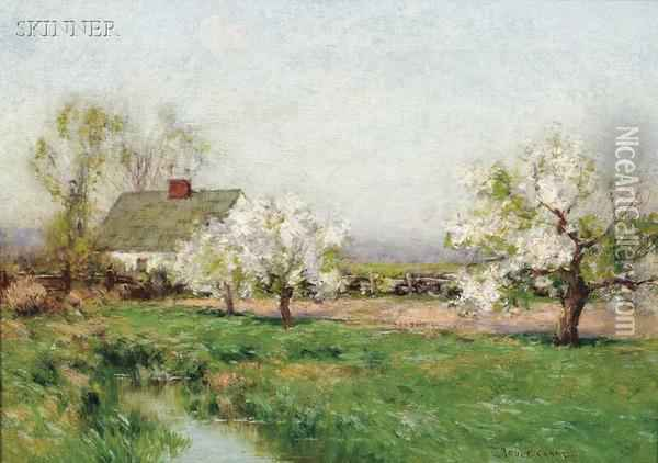 Spring Landscape With Cottage And Flowering Trees Oil Painting - Bruce Crane