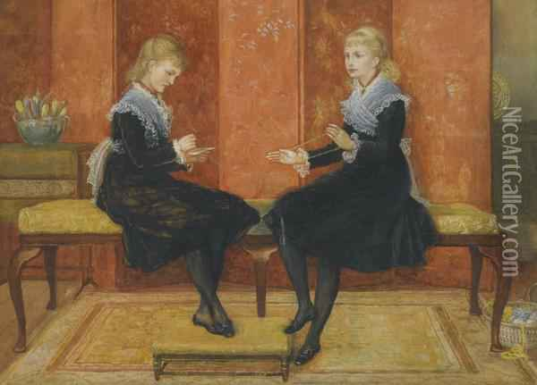 Violet And Lily, The Daughters Of Edmund Routledge Oil Painting - Walter Crane