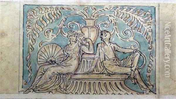 Classical Figures On A Seat Oil Painting - Walter Crane