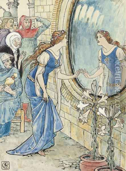 Five Illustrations For Arthur Kelly's The Rosebud And Other Tales -'the Mirror' (one Illustrated) Oil Painting - Walter Crane