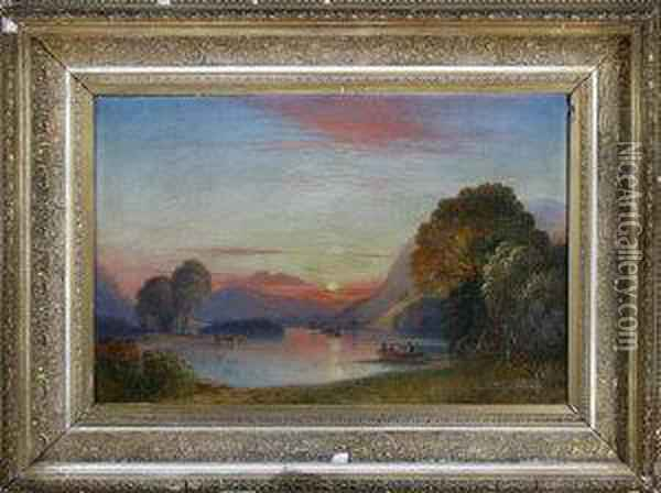Rydal Lake Oil Painting - William Crawhall
