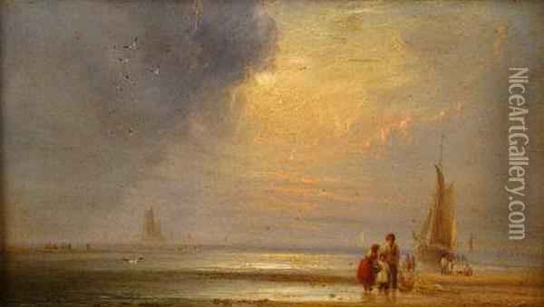 A Coastal Scene With Children On The Beach With Nets Oil Painting - William Crawhall