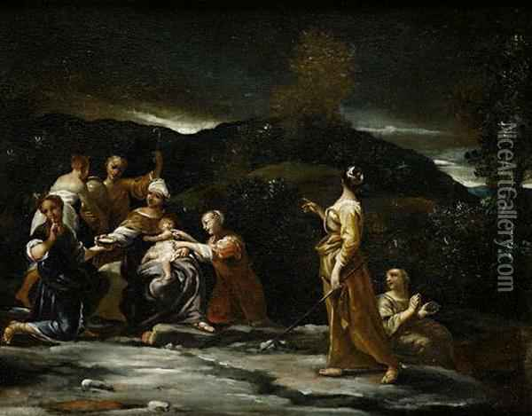 Jupiter Guarded By The Corybantes On The Island Of Crete Oil Painting - Giuseppe Maria Crespi