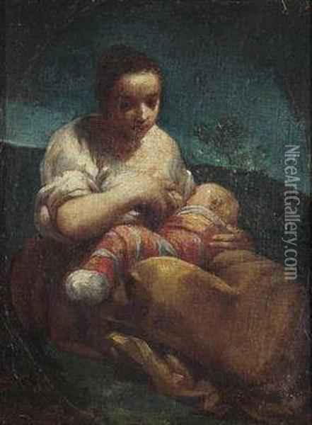 A Mother Nursing Her Child Oil Painting - Giuseppe Maria Crespi