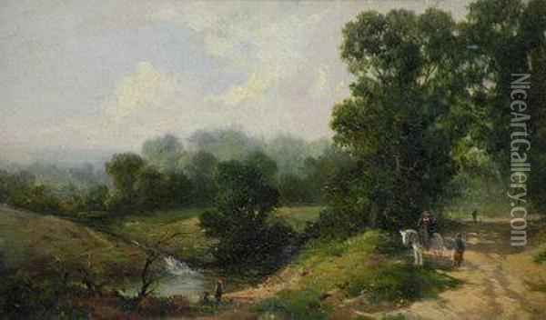 Figures On A Path In A Wooded River Landscape Oil Painting - Thomas Creswick