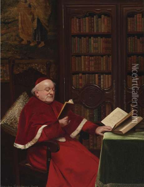 Cardinal In His Study Oil Painting - Georges Croegaert