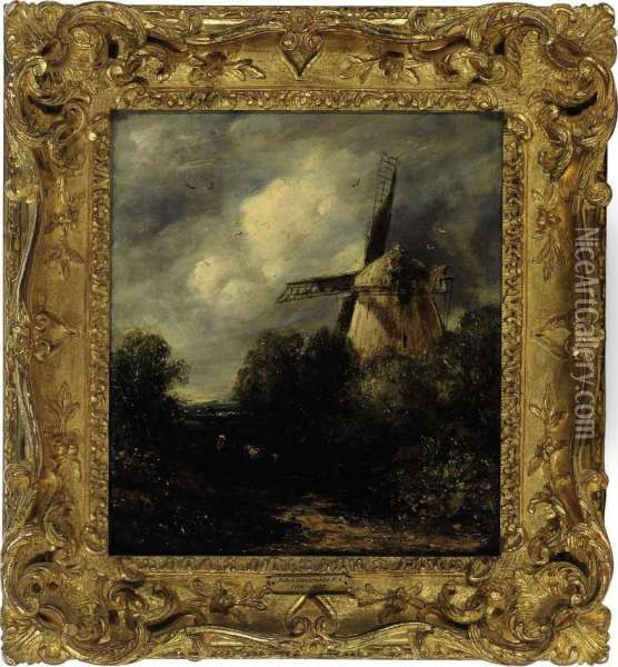 The Old Mill At Suffolk Oil Painting - John Crome