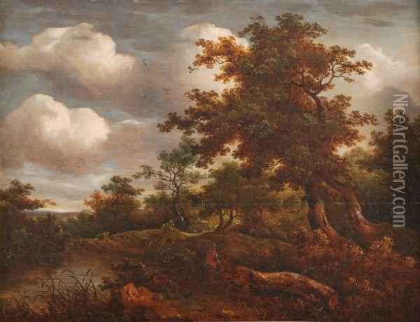 A Wooded River Landscape Oil Painting - John Crome