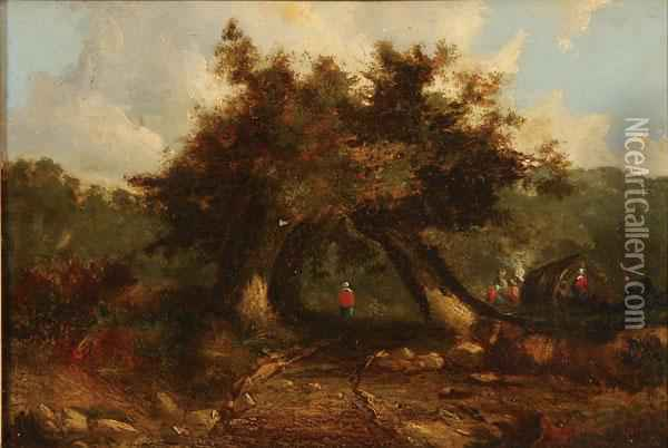 Landscape With Figures Beneath Trees Oil Painting - John Crome