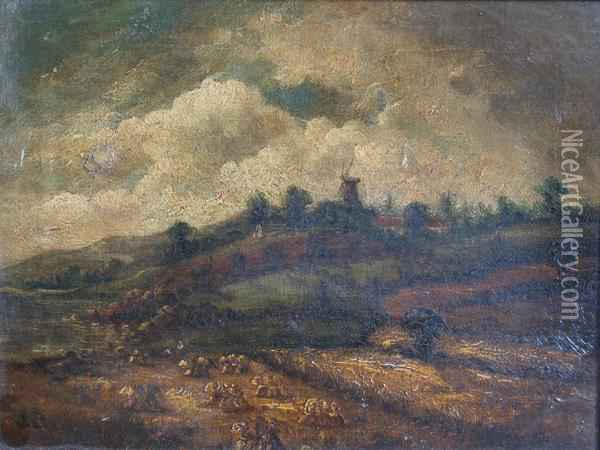 Landscape With A Cornfield And A Distant Windmill Oil Painting - John Crome