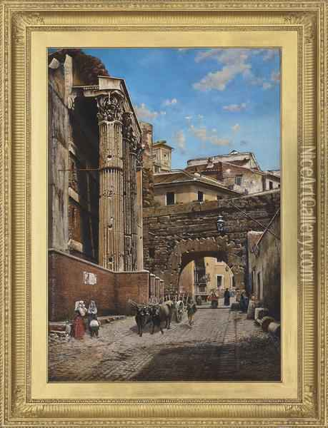The Arch Of Pantani, Temple Of Nerva, Rome Oil Painting - Thomas Hartley Cromek
