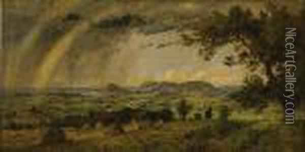 A Passing Shower Over Mts. Adam And Eve Oil Painting - Jasper Francis Cropsey