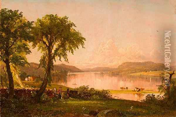 Summer Afternoon At Greenwood Lake Oil Painting - Jasper Francis Cropsey