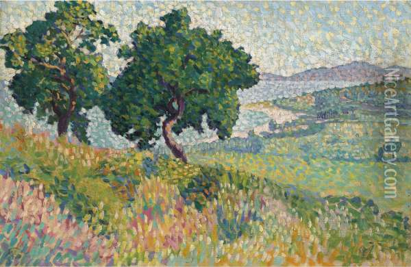 La Baie De Saint Clair Oil Painting - Henri Edmond Cross