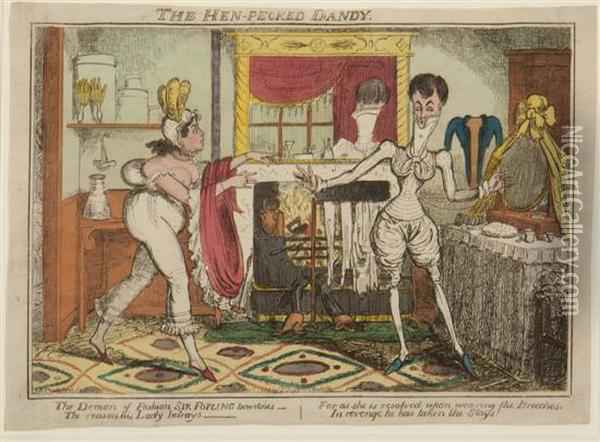 The Hen-pecked Dandy Oil Painting - I. Robert and George Cruikshank