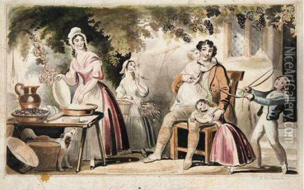 The Happy Father Oil Painting - I. Robert and George Cruikshank