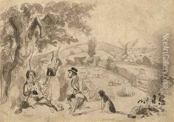 Bucolic Landscape With Figures Oil Painting - I. Robert and George Cruikshank