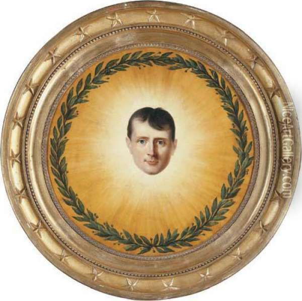 The Head Of Napoleon Surrounded By A Laurel Wreath In Asunburst Oil Painting - Laurent Dabos
