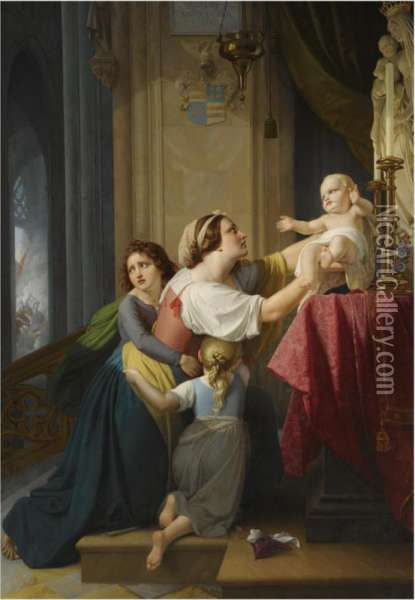 The Mother And Child's Refuge To The Altar Oil Painting - Eduard Daege