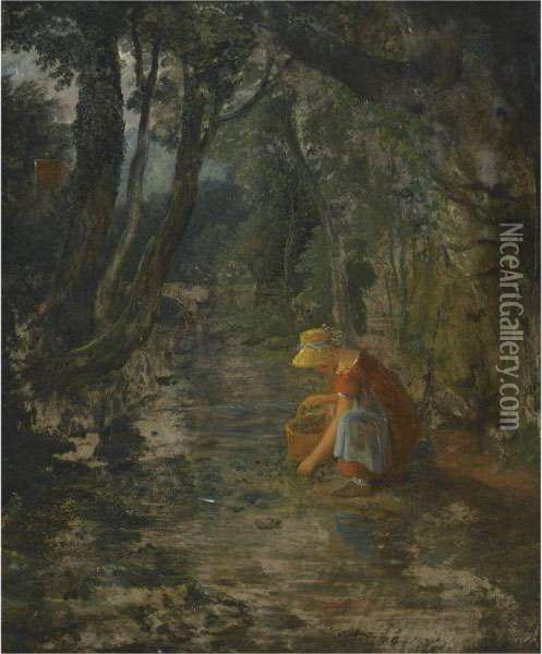 A Girl Collecting Berries By A Brook In A Wooded Landscape Oil Painting - Francis Danby