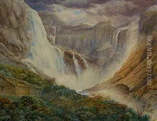 Extensive Waterfall Landscape Oil Painting - Francis Danby