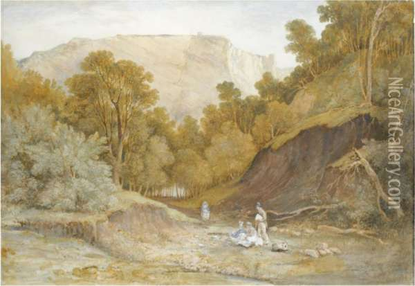 A Sketching Party In Leigh Woods, Near Bristol Oil Painting - Francis Danby