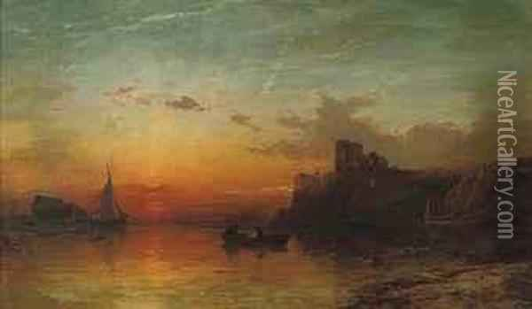 Sunset, Scarborough Oil Painting - Francis Danby