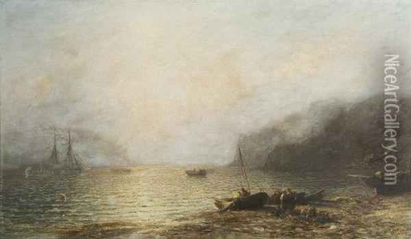 Figures On The Shore With Lobster Pots Oil Painting - Francis Danby