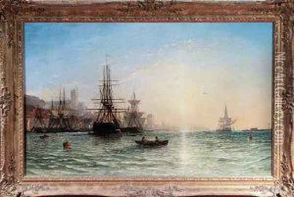 Sunrise - Sailing Ships And Paddle Tugs In The Harbour At Northshields Oil Painting - Francis Danby