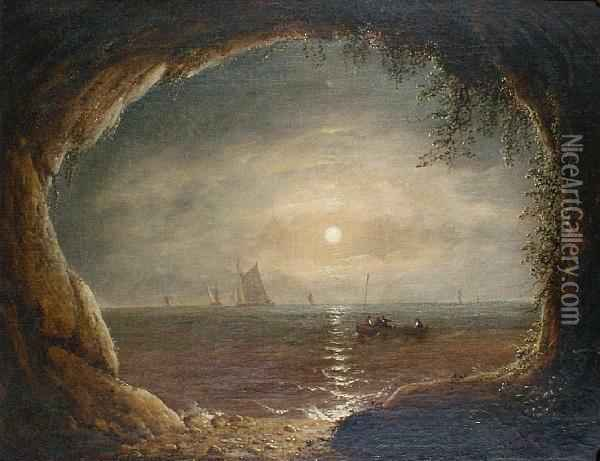A View Out To Sea From The Mouth Of A Cave Oil Painting - Francis Danby