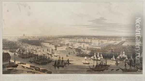 An Elevated View Of New Dock In Wapping Oil Painting - William Daniell RA